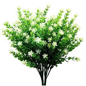 Silk Flower Arrangements Artificial Flowers, Fake Outdoor UV Resistant Boxwood Shrubs Plants, Lifelike Plastic Flowers for Indoor Outdoors Home Office Garden Wedding Sidewalk Trim Decor, 4 Pcs(White)