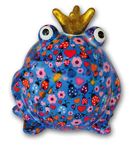 Pomme Pidou Spardose Frosch Froschkönig blau Käfer 15x17 cm Sparbüchse Geldgeschenk