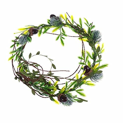FRCOLOR Floral Crown Hair Wreath Pine Cone Garland Green Leaves Wreath Headband Wedding Flower Headband Bride Headpiece for Beach Party