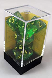 Chessex Dice, Borealis Polyhedral Dice Set Maple Green with Yellow