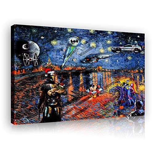 """Star Wars: Mouse batman Vincent Van Gogh Starry Christmas Gift Poster Painting Canvas Prints Bedroom Large Wall Art Picture (Wooden Framed,12""""x18"""")"""