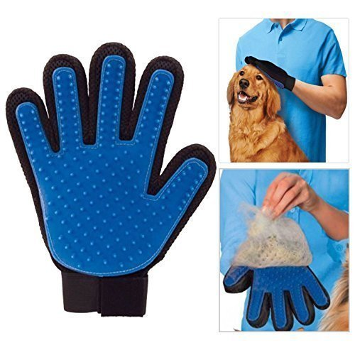 Pet Clean Grooming Bad Massage Handschoen Borstel Haar Kam voor Honden Katten Konijnen Chinchillas - Deshedding Borstel - Alleen Rechterhand, 1x, Blauw