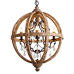 "Lovedima New 24"" Wide Retro Rustic Weathered Wooden Globe Chandelier Crystal 5-Light Pendant Lighting Amazon"