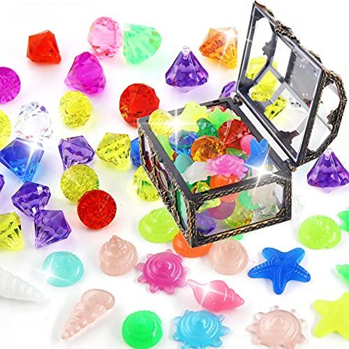 50 stück Tauchspielzeug für Kinder,Tauchen Spielzeug,Pool Tauchspielzeug Kinder,Edelstein aus Plastik Unterwasser,tauchspielzeug kinder,Tauchen Edelsteine für Kinder Mädchen Junge (Farbe)