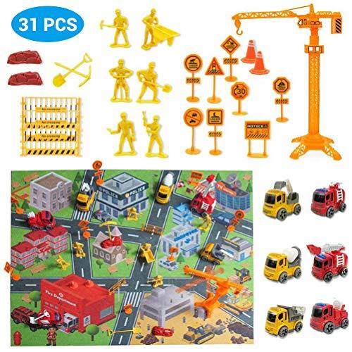 Brain Game Gowsch 31 PCS Bausatz mit Spielmatte Mini Druckguss Cars Spielzeug-Sets, bunt