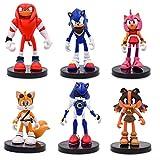 MIAOGE Juguetes sónicos Sonic 6 Piezas/Set Figuras PVC Sonic Shadow Amy Rose Sticks Tails Personajes Figura Juguete Bebé para Niños
