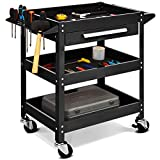 <span class='highlight'><span class='highlight'>GYMAX</span></span> 3 Tier Tool Storage Cart, Storage Service Cart with Drawer, Lockable Wheels, Ergonomic Handle and Nonslip Cushion, Storage Trolley for Home Workshop Garage, Load Capacity 150KG