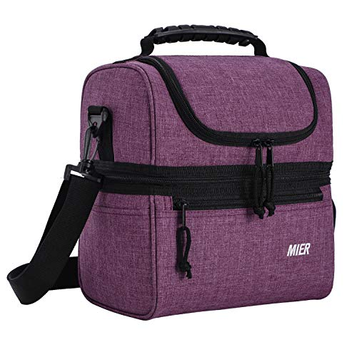 MIER 2 Compartment Lunch Bag for Men Women, Leakproof Insulated Cooler Bag for Work, School, Purple, Medium