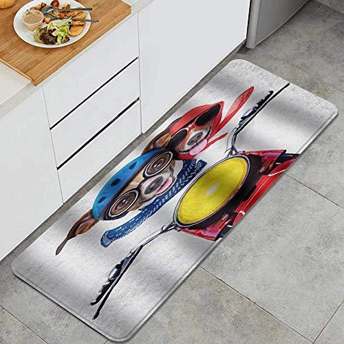 ZORMIEY Alfombras Cocina Lavable Antideslizante Alfombrilla de Goma Alfombra de Baño Alfombrillas Cocina 45x120cm,Perro Paseo en Motocicleta Genial