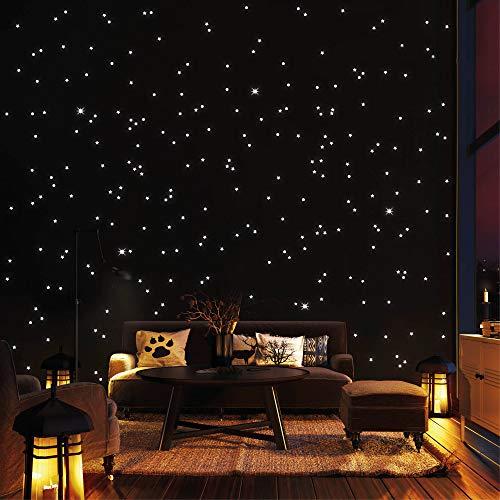 Wandtattoo-Loft 350 Puntos Luminosos y Estrellas Luminosas para Cielo Estrellado – Autoadhesivo y Fluorescente - Extra Fuerte Luminosidad