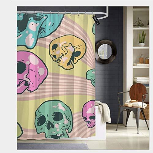 nonebrand Candy Skulls Duschvorhang-Set mit 12 Haken, wasserdichter Stoff Badewanne Dusche 182,9 x 182,9 cm