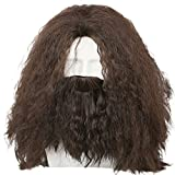 Halloween Wig with Beard Cosplay Costume Adult Men Brown Long Curly Hair Accessories