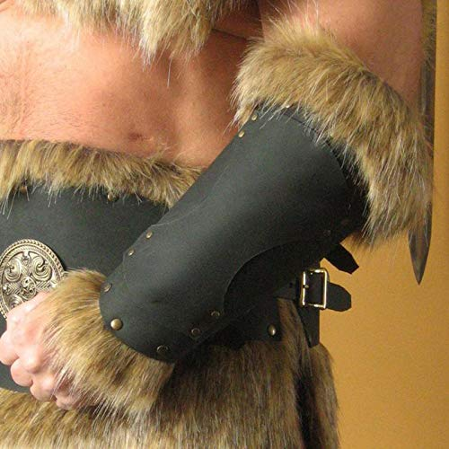 LGYKUMEG 1Pair Adult Men Medieval Warrior Knight LARP Leather Armor Arm Bracer with Buckle Feather Armor Steampunk Archer Gauntlet Cosplay Costume Viking,Black