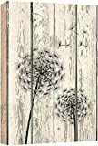 wall26 - Canvas Prints Wall Art - Dandelion on Vintage Wood Board Background Rustic Home Decoration - 18' x 12'