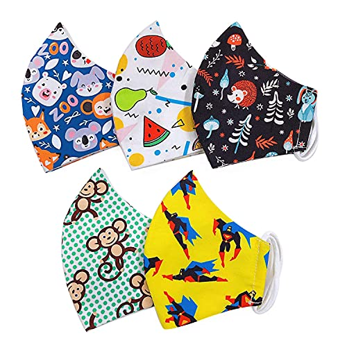 Lami 3-ply Face Mask for Kids Cotton Cloth Printed Face Mask for Kids, Reusable Kids Mask Kids, Half Face Mask for Kids- Pack of 5