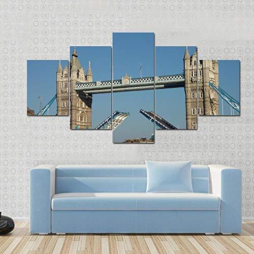 GHYTR Puente De La Torre sobre El Río Thames Cuadro sobre Impresión Lienzo 5 Piezas Marco 150X80Cm HD Arte De Pared Modulares Sala De Estar Dormitorios Decoración para El Hogar Póster Regalo