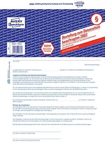 AVERY Zweckform 2882 Formular Datenschutzbeauftragter (nach DSGVO, A4, selbstdurchschreibend, 2-fach Satz, Datenschutzformular) 5 Stück weiß