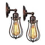 KINGSO 2 Pack Applique Murale Industrielle E27 Abat-jour Cage Lampe Suspension Plafonnier Vintage Luminaire Bougeoir Décoration Rétro Applique Intérieure pour Salon Cuisine Couloir Chambre Café Bar