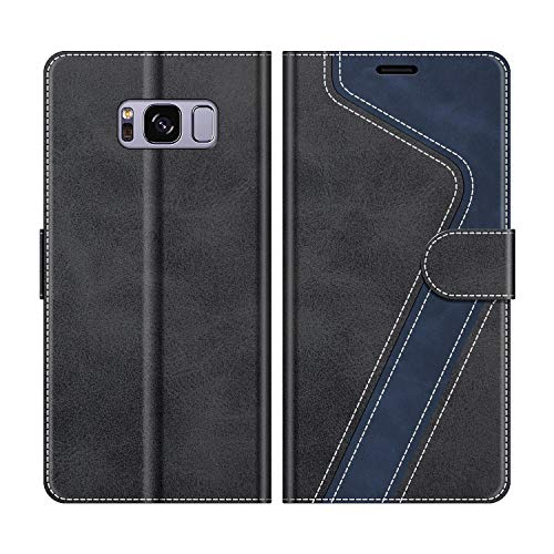 MOBESV Handyhülle für Samsung Galaxy S8 Hülle Leder, Samsung Galaxy S8 Klapphülle Handytasche Case für Samsung Galaxy S8 Handy Hüllen, Modisch Schwarz
