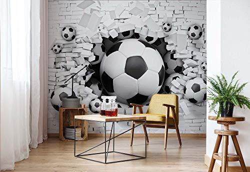 Fußball Durch Die Mauer - Wallsticker Warehouse - Fototapete - Tapete - Fotomural - Mural Wandbild - (3383WM) - XL - 254cm x 184cm - Papier (KEIN VLIES) - 2 Pieces