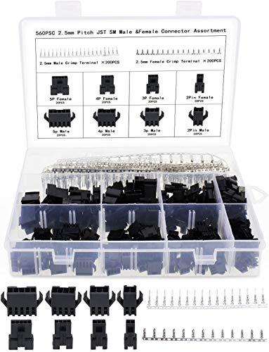 Aussel 2,5mm Pitch 2 3 4 5 Pin JST SM Stecker Stecker und Stecker Stecker Gehäuse Stecker Adapter Sortiment Kit 560 Stück(560PCS)