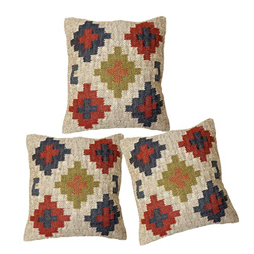 iinfinize Funda de cojín Kilim Vintage Kilim para sala de estar, cojín decorativo para cama, sofá hippie, almohada bohemia de lana, yute, cojín cuadrado (blanco, 3)