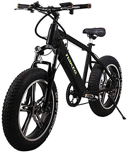 RDJM Bciclette Elettriche, 500W Bicicletta elettrica, 26 '' Fat Tire E-Bike, Fat Tire Ebike, Impermeabile e Antipolvere Rimovibile Chiamate 48V 10AH (Color : Black)