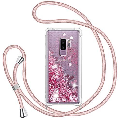 TUUT Funda Glitter Liquida con Cuerda para Samsung Galaxy S9 Plus, Glitter Cristal Suave Silicona TPU Bumper Protector Carcasa, Brillante Arena Movediza con Colgante Ajustable Cordón Case -Rosa