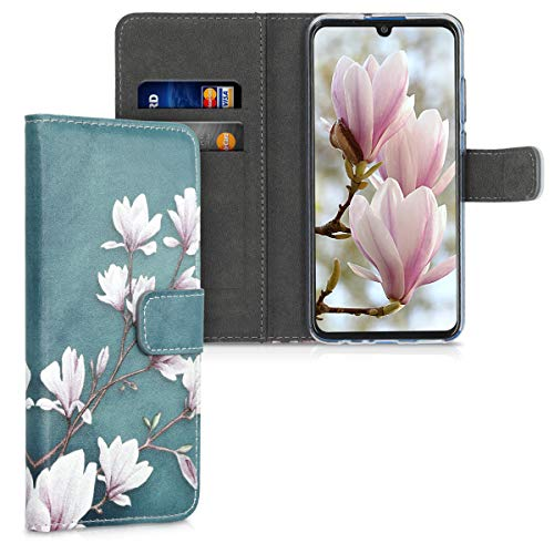 kwmobile Wallet Hülle kompatibel mit Honor 20 Lite - Hülle mit Ständer Kartenfächer Magnolien Taupe Weiß Blaugrau