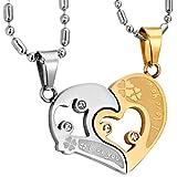 JewelryWe Schmuck Edelstahl Halskette Set, Gold Silber Herz Puzzle Anhänger mit I Love You Gravur...