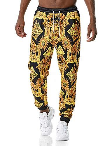 PIZOFF Herren Hip Hop Golden Jogginghose mit 3D Barocco Druck IM Palace BAROCCO Acanthus Mosaic-Print M Bunt-0017