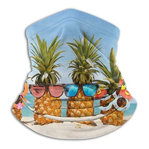 WH-CLA Pañuelo De Cabeza para Hombre Mujer,Gafas De Sol Pineapple Beach Sandbeach Floral Bandana Sin Costura Pasamontañas Secado Rápido Bufanda Customed Bufanda Facial para Pesca Motocicleta Caza