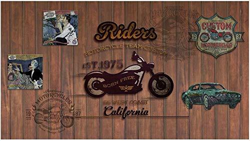 3D No tejido Papel tapiz fotográfico 200(W)X150(H) cm Doodle de club de coches de motos retro Murales Papel Pintado para Decoración de Paredes de Dormitorio y Salón