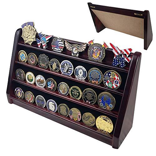 Indeep Medaillenhalter, Regal, 4 Reihen, Militär-Challenge-Coin-Ständer, Mahagoni-Finish