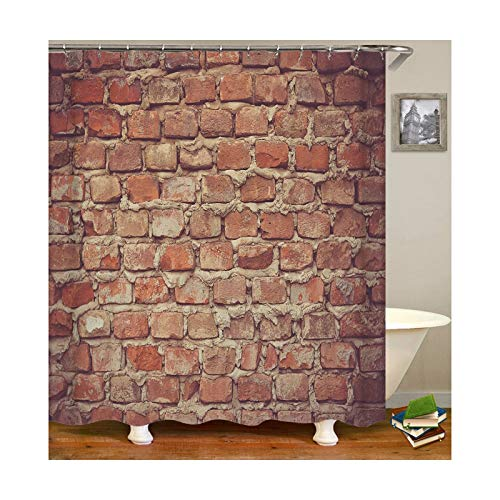 Knbob Duschvorhang Anti Schimmel Wand Stil 10 Shower Curtain 180X200CM mit Duschvorhangringen Badezimmer Gardinen