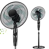 Oscillating Pedestal Fan, 16 Inch, 4 Speed Settings, Adjustable Height, with 60 Minutes Timer, for Home or Office Use - Black