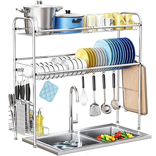 Over The Sink Dish Drying Rack,HOWDIA 2 Tier 304 Stainless Steel Dish Rack Over Sink with Utensil Holder Cutting Board Holder for Kitchen Counter(Silver)