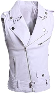 LifeHe Men's PU Leather Punk Zipper Sleeveless Vests Jacket