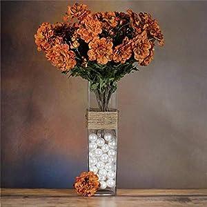 Tableclothsfactory 4 Bushes California Zinnia Artificial Wedding Craft Flowers – Copper Brown