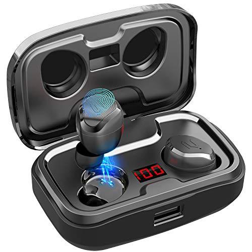 Bluetooth Kopfhörer,AIKELA Kopfhörer Kabellos In Ear Kopfhörer Bluetooth 5.0 Headset Wireless Kopfhörer Sport Ohrhörer mit Mikrofon und Tragbare Ladehülle, IPX7 wasserdicht,für Smartphone und PC