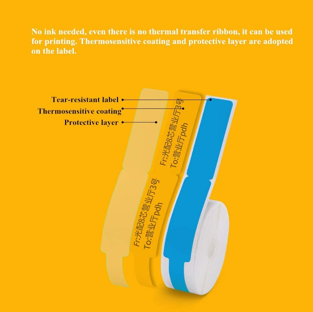 Blue KUNHEWUHUA 65pcs Self Adhesive Cable Labels for D11 Portable Thermal Bluetooth Label Printer 12.5x109mm Cable Tags Cable Marker