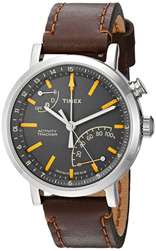 Timex Metropolitan + Bluetooth Brown, Brushed steel, Grey, Orange Sport Watch – Sport reloj (Brown, Brushed steel, Grey, Orange, Stainless Steel, Water resistant, Leather, Mineral, Glass)