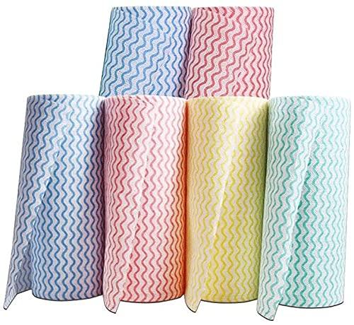 LIjiMY Trapos de Tela para acumular Pad Cocina Absorbente Papel Limpieza Papel Toalla Rollos Desechables Trapos absorbentes lavavajillas Tela de Cocina Toallas de Cocina (Size : 6)
