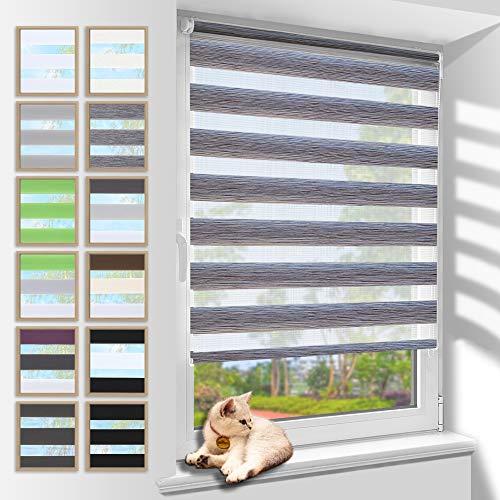 Doppelrollo 80x150cm(BxH) Marmor Grau,Rollos für Fenster Tür ohne Bohren,Klemmfix Duo Rollo lichtdurchlässig und Blickdicht,stark Sichtschutz und Sonnenschutz Fensterrollo innen