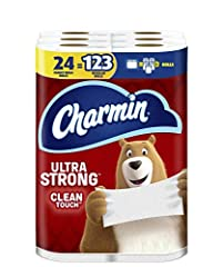 Pack contains 24 Rolls (341 sheets per roll) of Charmin Ultra Strong Toilet Paper 1 Charmin Family Mega Roll = 5+ Regular Rolls based on number of sheets in Charmin Regular Roll bath tissue Design inspired by washcloth-like cleaning Strong 2-ply toil...