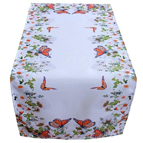 Raebel Tischläufer 40 x 90 cm Tischdecke Mitteldecke Ostern Tischdeko Frühling weiß bunt Blumen und Schmetterlinge