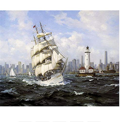 Paint by Numbers Kits for Adults Sailing Ship Painting DIY Canvas Adults Kids Beginner,Acrylic Oil Painting Colourful Art Christmas Home Decorations Gifts 40x50cm (Without Frame)