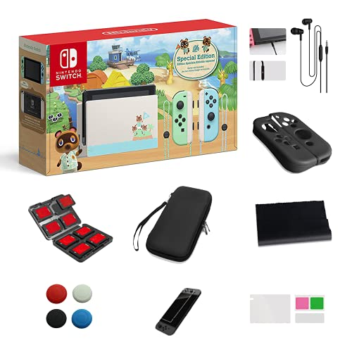 Newest Nintendo Switch - Animal Crossing: New Horizons Edition 32GB Console - Pastel Green and Blue Joy-Con -6.2  Touchscreen LCD Display, Christmas, w 13-in-1 Supper Kit Case