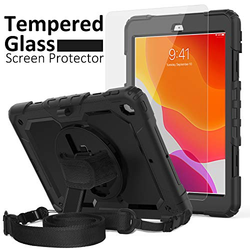 iPad 8th/7th Generation Case, iPad 10.2 Case 2020/2019, [Kid Proof] ambison Full Body Protective Case with 9H Tempered Glass Screen Protector, 360° Rotatable Kickstand & Hand Strap (Black)