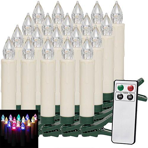 Deuba 20x LED Weihnachtsbaumkerzen kabellos Bunt Fernbedienung Timer batteriebetrieben Christbaumkerzen Weihnachtskerzen